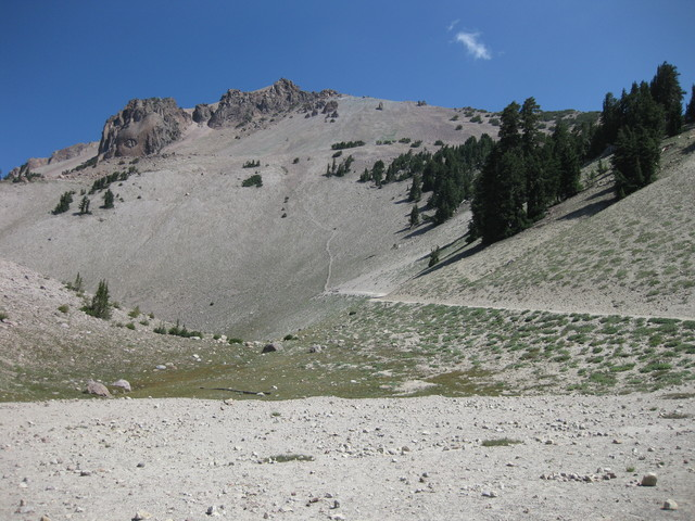 Scar on the rock slope, view from base of Lassen Peak Trail, Lassen Volcanic National Park, California