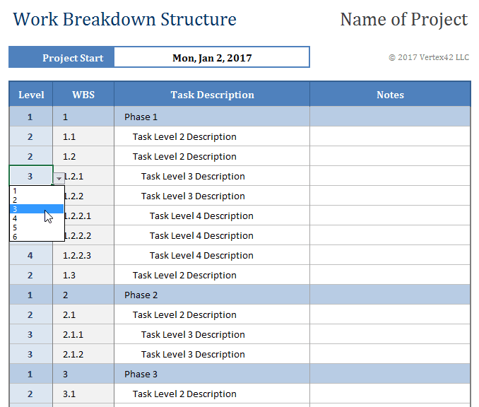 wbs work breakdown structure A work breakdown structure (wbs) is a decomposition of all the work necessary to complete a project a wbs is arranged in a hierarchy and constructed to allow for.