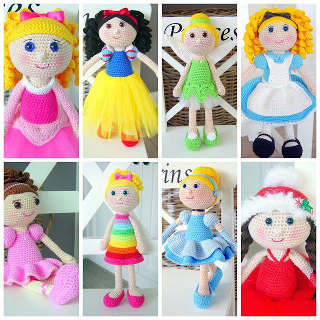 Amigurumi princess dolls crochet patterns