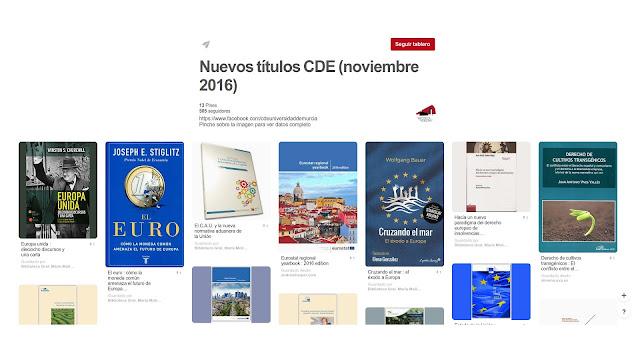 Nuevos títulos en el Centro de Documentación Europeo - Noviembre 2016.