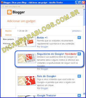 Gadget de Seguidores do Google+ para Blog