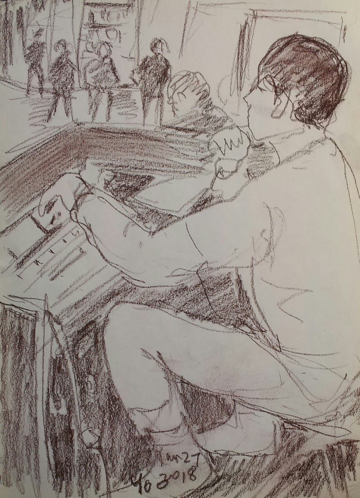 I Took My Seat Near This Sound Engineer Tried To Draw Him Without His Efforts Music Would Not Be Transferred So Greatly The Audience
