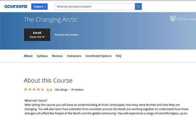 "Hey, this free internet course on ""The Changing Arctic looks interesting (Source: www.coursera.org)"