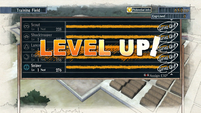 Valkyria Chronicles Training Field screen level up