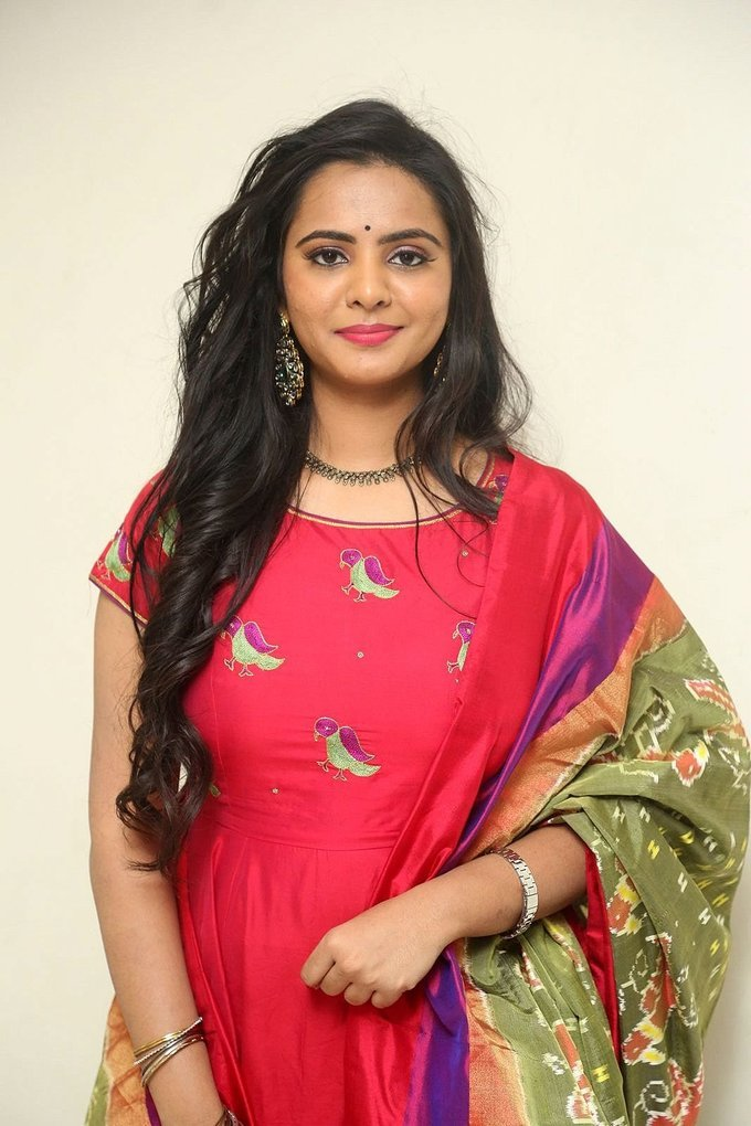 Hyderabad Beautiful Girl Manasa Long Hair Stills In Red Dress