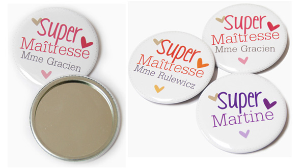 Miroirs et badges personnalisables CharlyCha