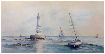 aquarelles originales JP Wisniewski, peinture à l'aquarelle d'un phare, phare de Cordouan