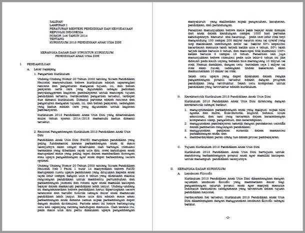Permendikbud Nomor 146 Tahun 2014 Tentang Kerangka Dasar dan Struktur Kurikulum Pendidikan Anak Usia Dini
