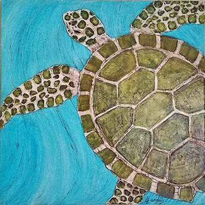 sea turtle swimming coastal art