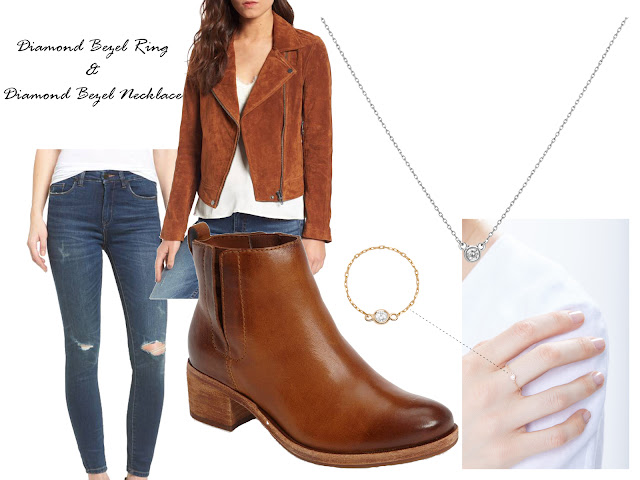 Suede moto jacket with booties