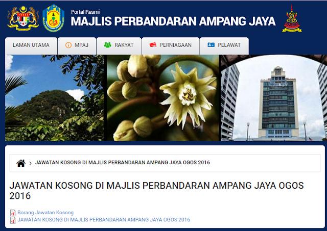 Rasmi - Jawatan Kosong (MPAJ) Majlis Perbandaran Ampang Jaya Terkini 2019