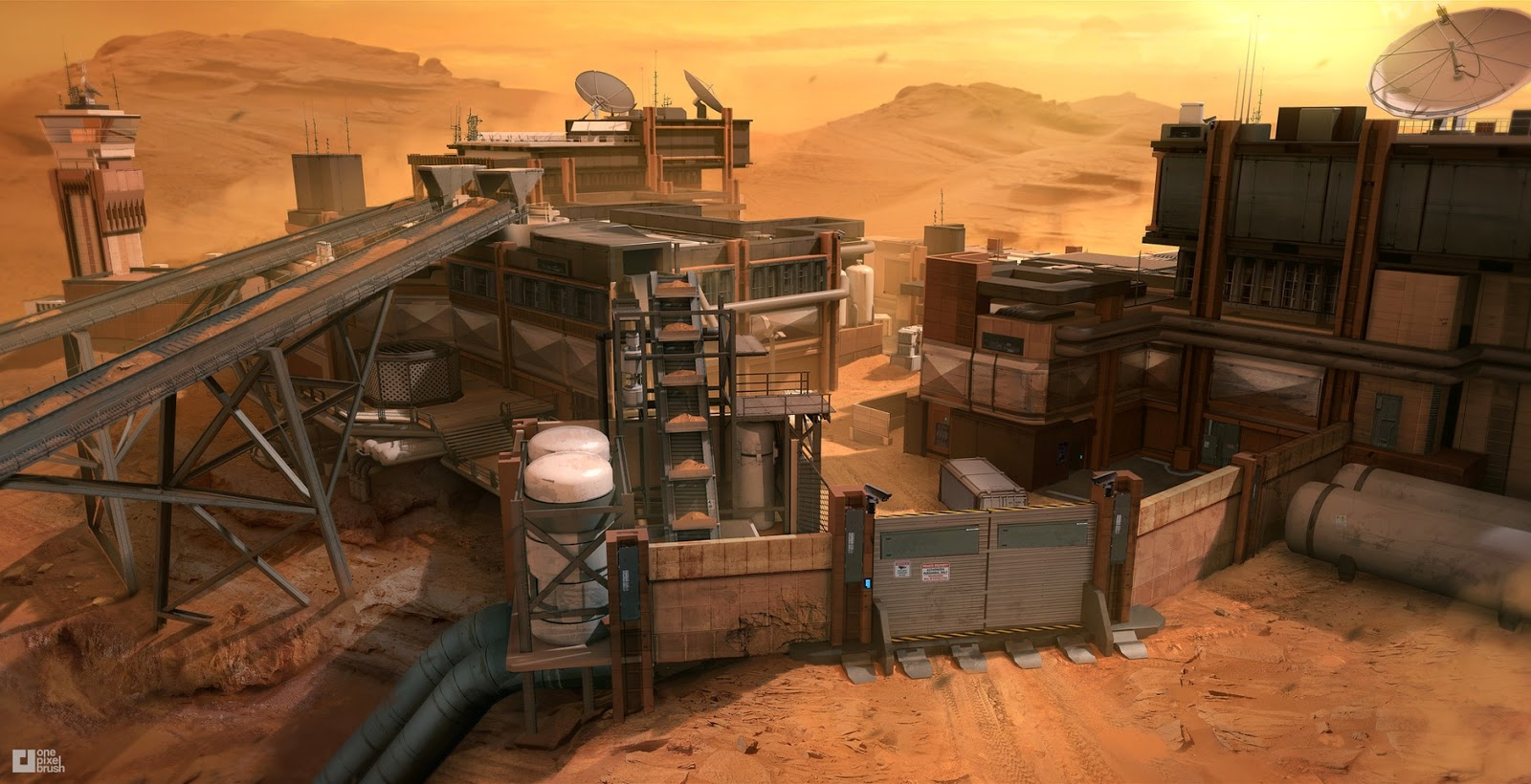 Mars rock quarry by Mike Garn - concept art for Call of Duty Infinite Warfare