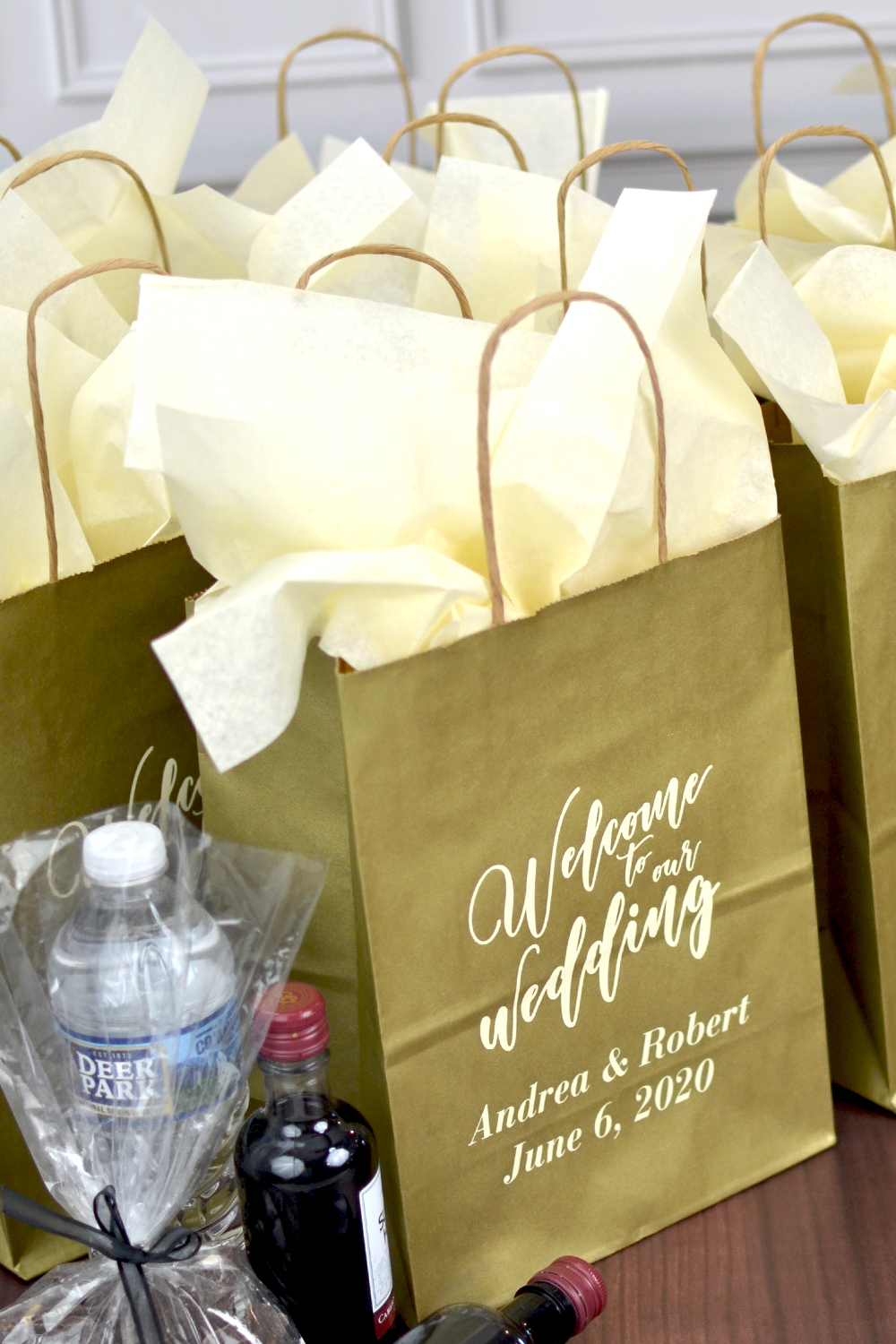 Gold Wedding Guest Gift Bags with Welcome Message