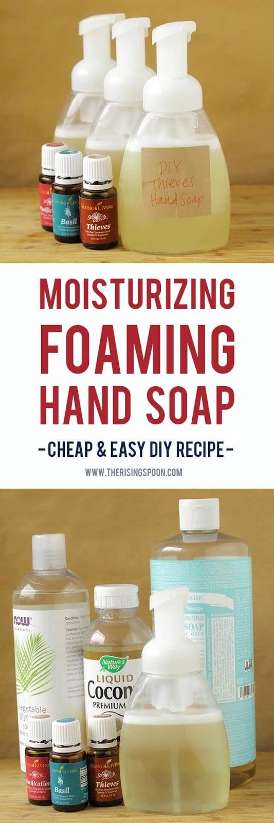 Want to make your own foaming hand soap at home? It's not hard! Try my super easy recipe using a few simple and non-toxic ingredients like liquid castile soap, water, moisturizing liquid carrier oils, and essential oils. This homemade version costs pennies to make a single batch and your hands will thank you!