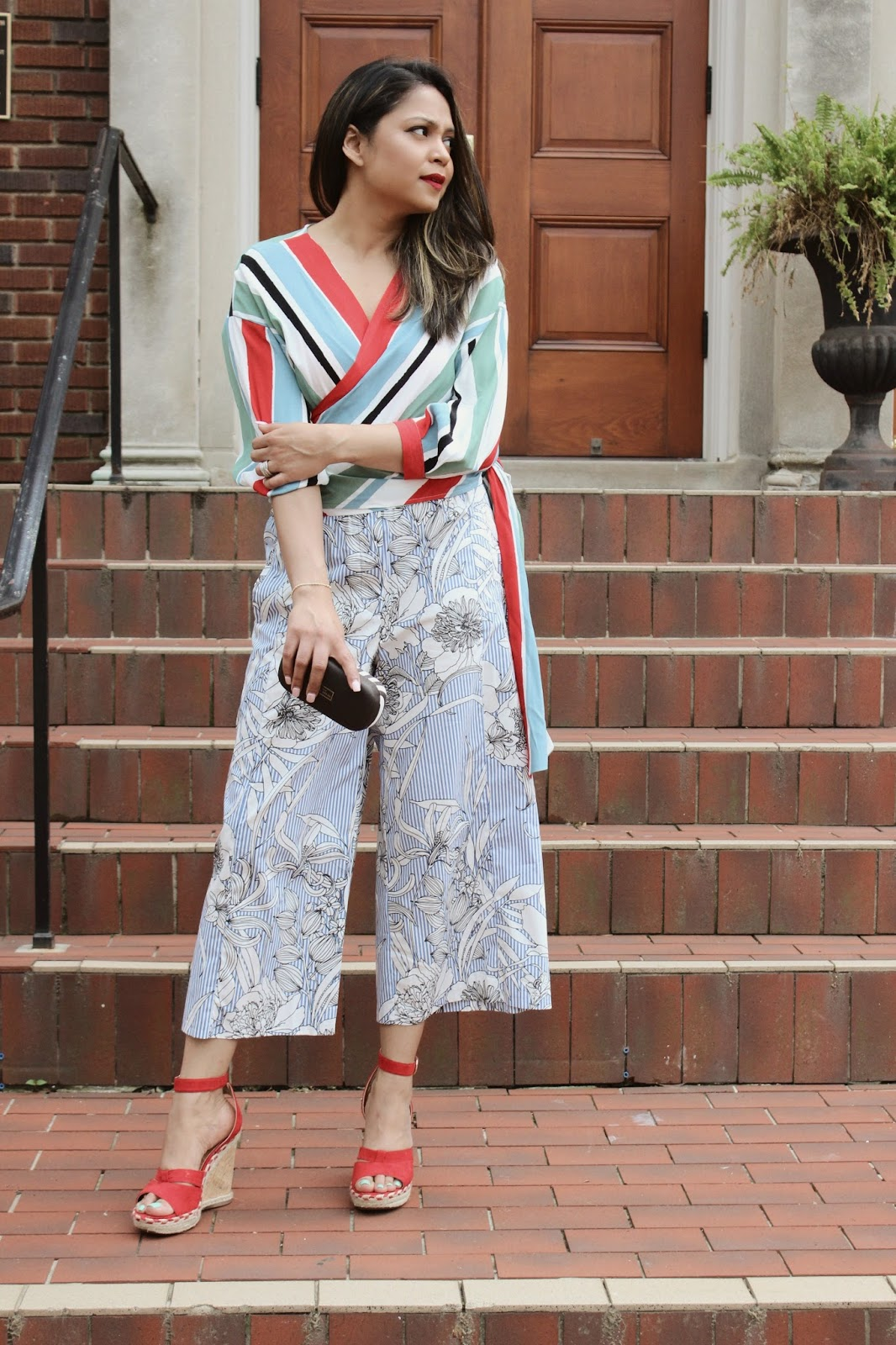 print mixing, how to wear prints, red wedges, TX maxx finds, summer shoes, trend talk, how to wear red and stripes, ootd, street style,. red lips, myriad musings