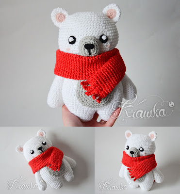 Krawka: Polar bear with a red scarf, winter christmas crochet pattern amigurumi for a classical teddy bear pattern by Krawka