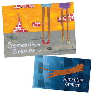 Print goodies by Samantha Grenier - Postcard and Business Card.