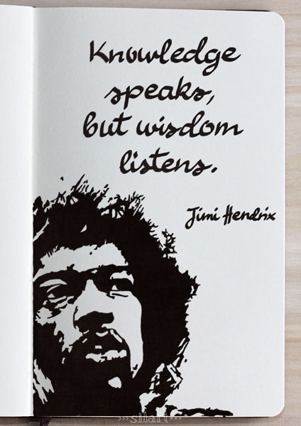 Knowledge and Wisdom, sketchbook lettering, Zitat Jimi Hendrix