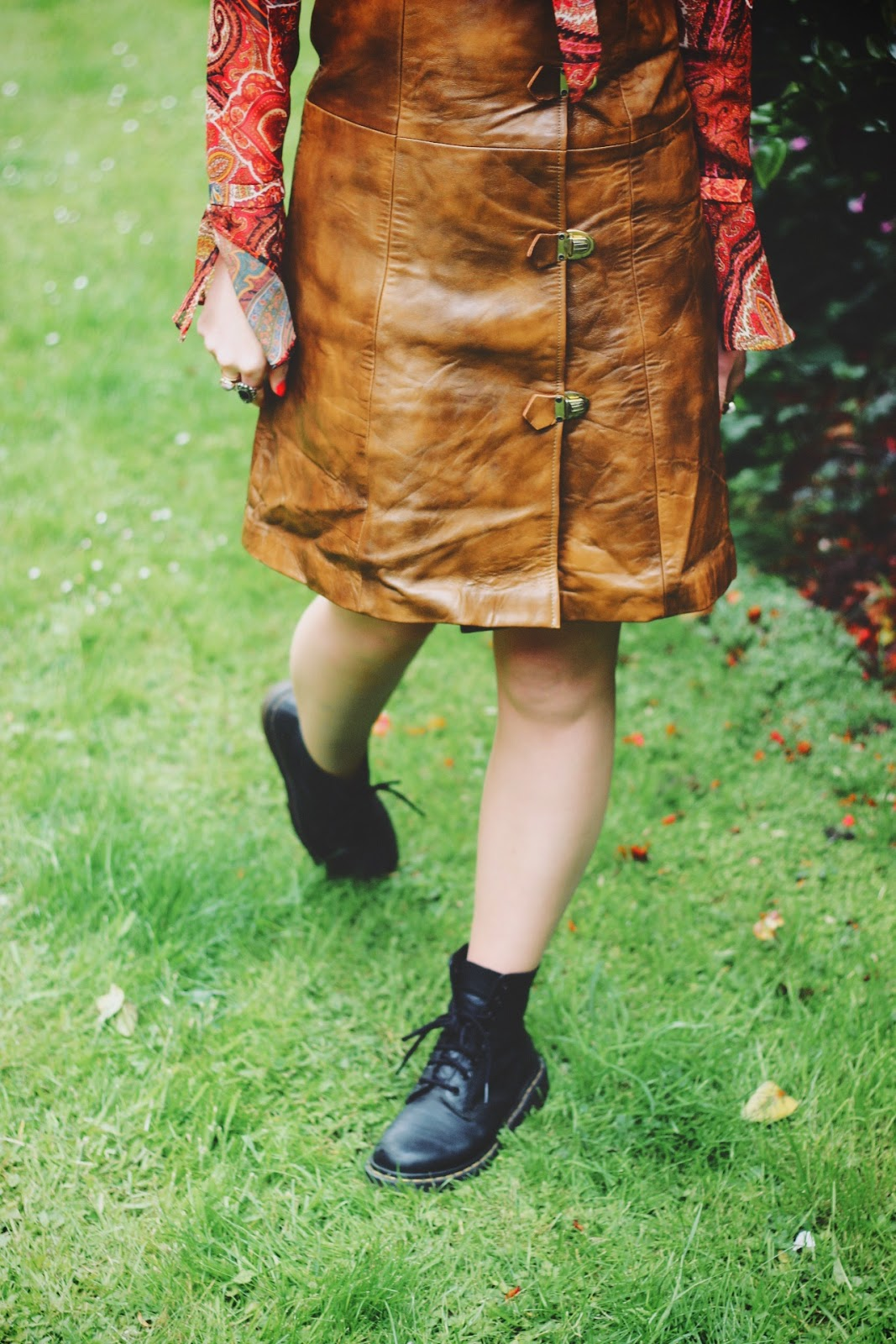 Beyond Retro Vintage Leather 70s Buckle Dress & Dr Martens Boots Festival