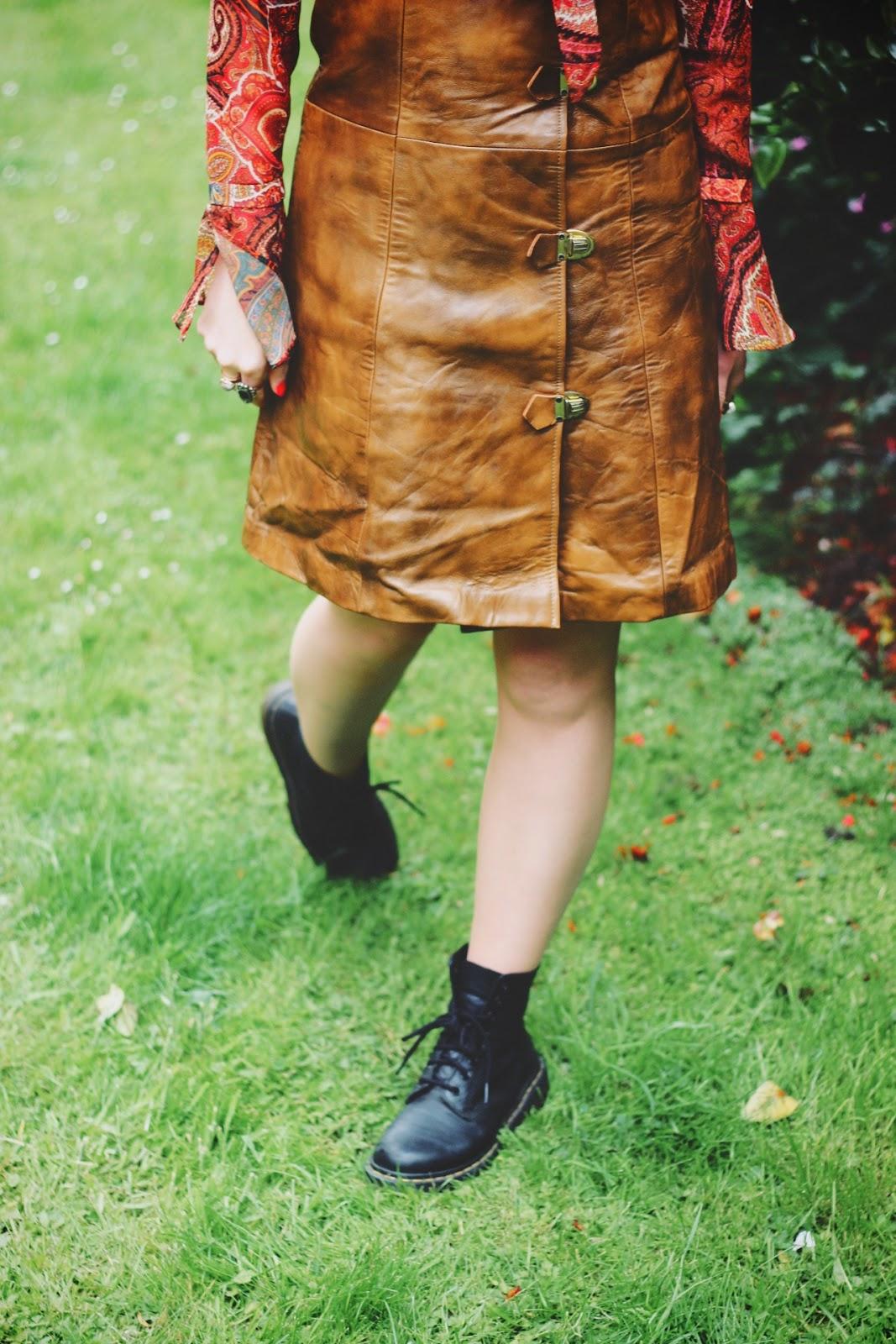 Beyond Retro Vintage Leather 70s Buckle Dress & Dr Martens Boots Festival