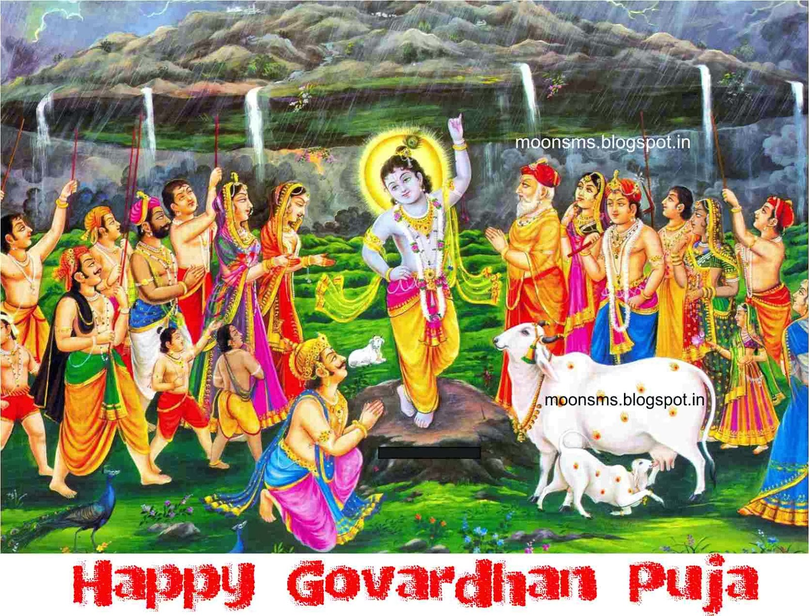 Happy Govardhan Puja 2014 Hindi SMS Message wishes greetings with scraps graphic images picture HD wallpaper, Krishna Lifting  Govardhan Parvat Hill Mountain