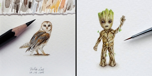 00-Julia-Las-Tiny-Animal-Watercolor-Paintings-and-Other-Miniatures-www-designstack-co