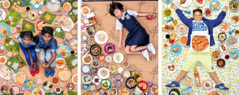 Bodegones de alimentación infantil, con niños como protagonistas