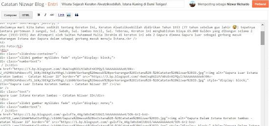 Contoh memasukan script didalam artikel - Catatan Nizwar ID