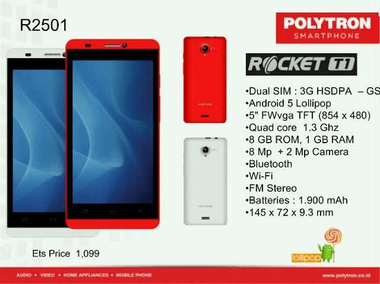 Spek dan harga Lengkap Polytron Rocket T1 R2501