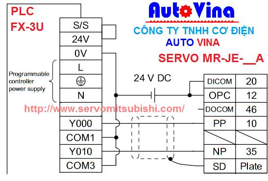 Sơ đồ đấu nối phát xung điều khiển vị trí cho servo MR-JE-40A