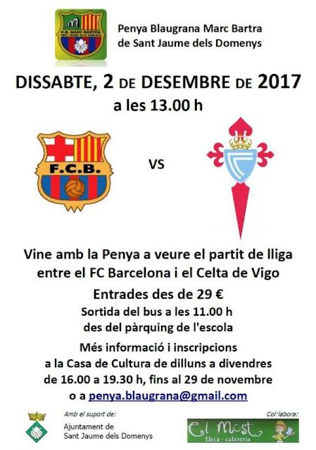 Esguard de Dona - Penya Blaugrana Marc Bartra de Sant Jaume dels Domenys - Sortida per veure el partit Barça / Celta - 2 de desembre de 2017