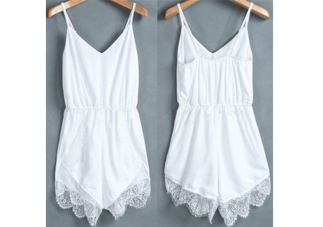 White romper jumpsuit lace