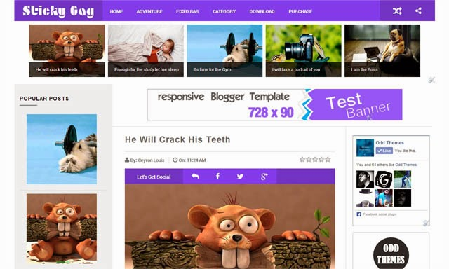 Sticky Gag Responsive Blogger Templates
