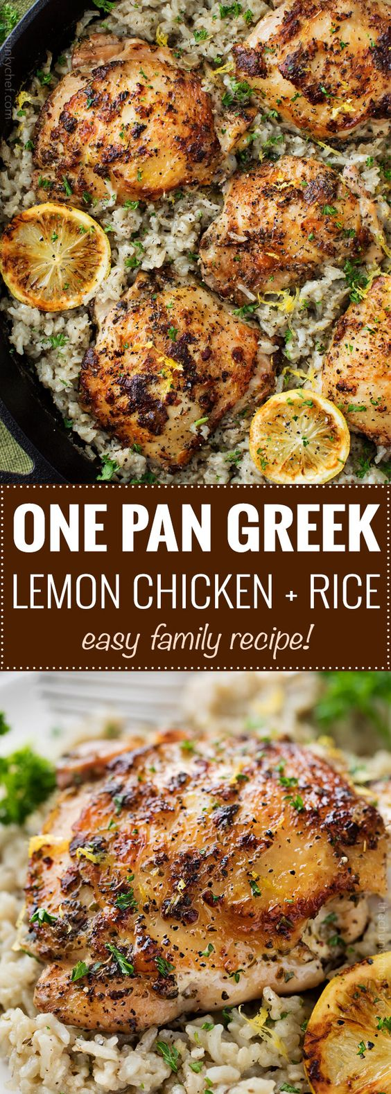 ONE PAN GREEK LEMON CHICKEN AND RICE