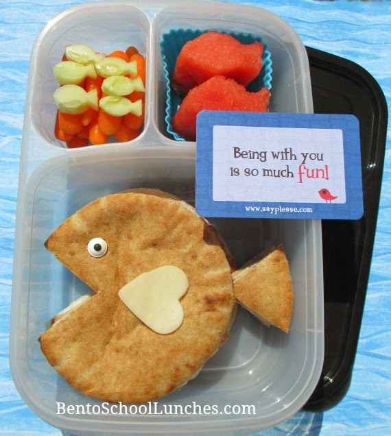Pita fish bento school lunch, Lunchbox Love note