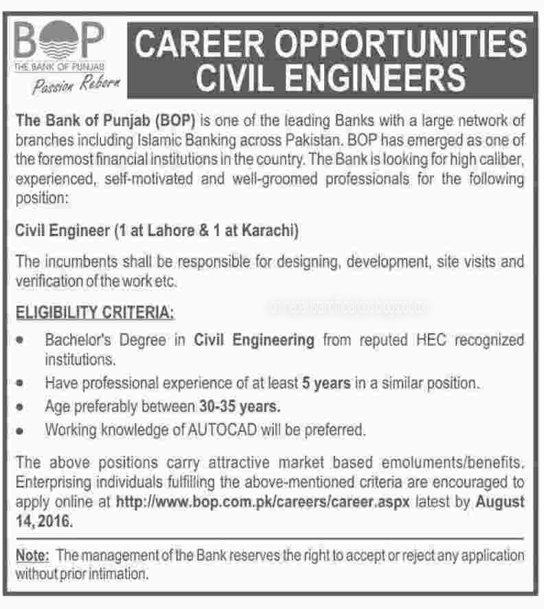 Civil Engineer Jobs The Bank of Punjab Apply Online 2016