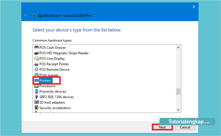 cara manual install driver printer