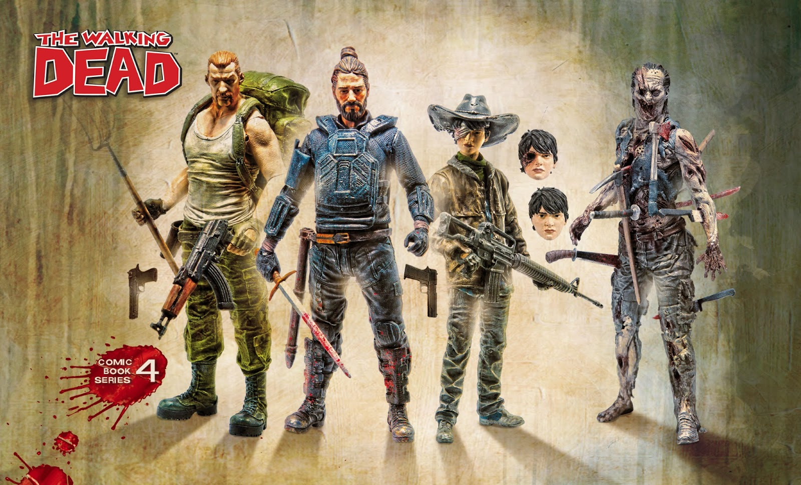 "The Walking Dead Comic Book Series 4 Action Figures by McFarlane Toys - Abraham Ford, Carl Grimes, Paul ""Jesus"" Monroe and Pin Cushion Zombie"