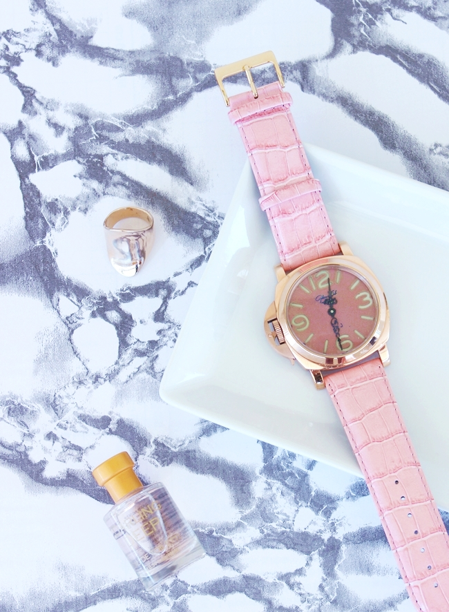 Glam Fab Happy custom made rose gold watch with pink straps