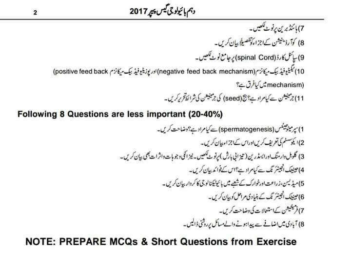 Matric 10th Biology Guess Paper 2017 All Punjab Boards 2