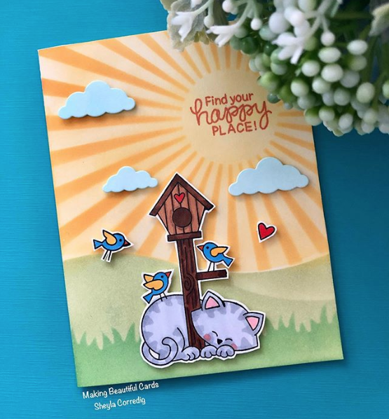 Fan Feature Week - Day 4   Happy Place card featuring Newton's Birdhouse Stamp Sets by Newton's Nook Designs #newtonsnook #handmade
