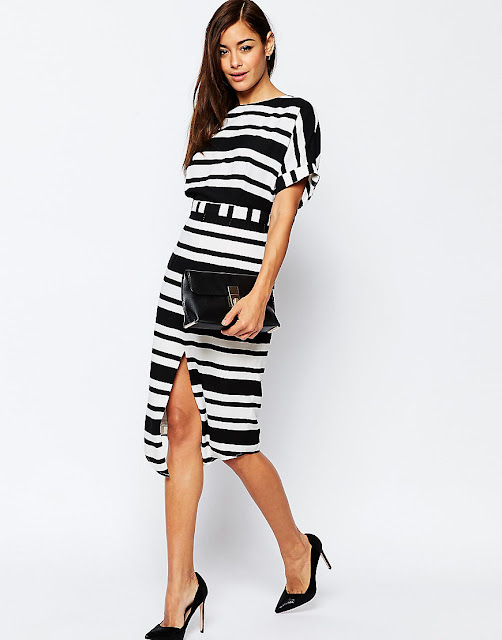 black white stripe wiggle dress, split front midi dress stripe,