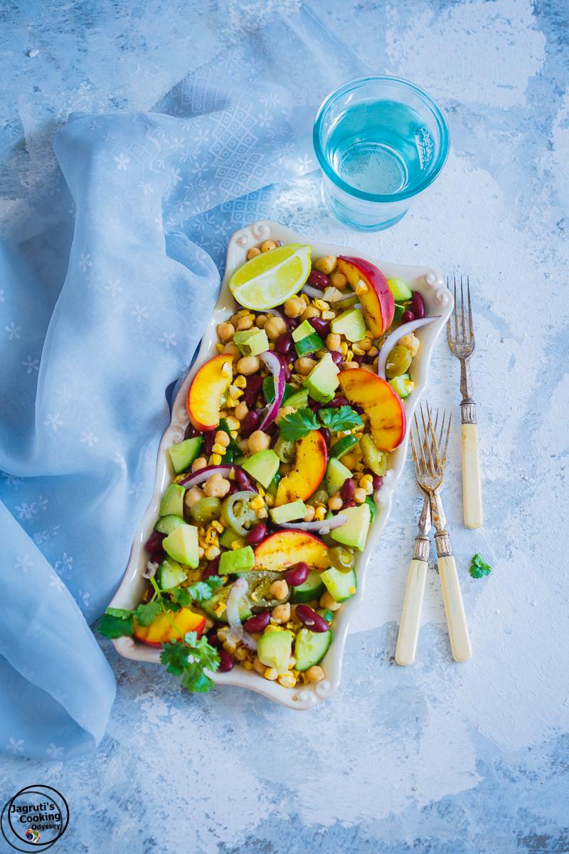 Grilled-Corn-Nectarine-Mixed-Beans-Salad-Jagrutis-Cooking-Odyssey