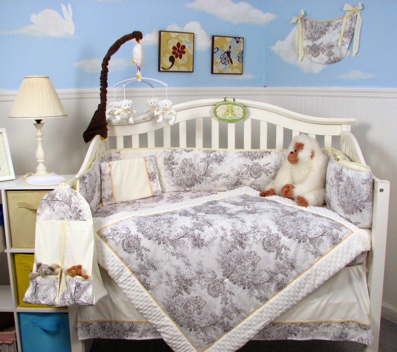 Soho White Charcoal French Toile Crib Nursery Bedding Set 14 Pcs