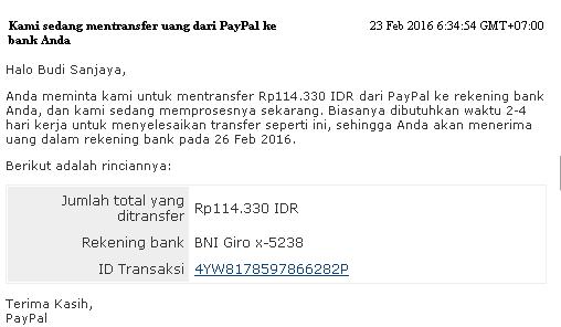 Email pemberitahuan penarikan dana paypal