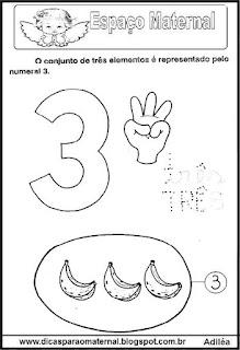 Desenho numeral 3 para colorir