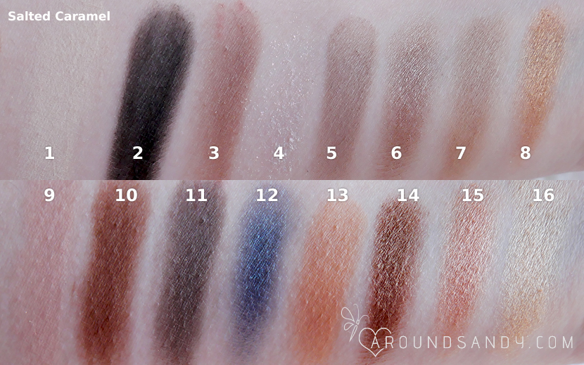 swatches salted caramel palette paleta de i heart makeup  semi sweet chocolate clon too faced