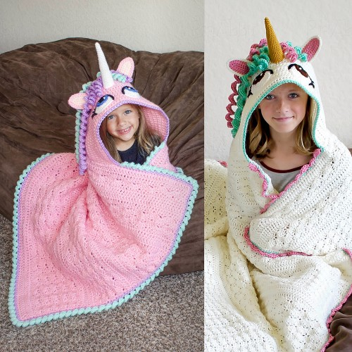 Hooded Unicorn Blanket - Crochet Pattern