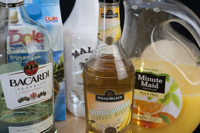 Gilligan cocktail, Gilligan's Island, malibu rum, coconut rum, light rum, banana liqueur, orange juice, pineapple juice