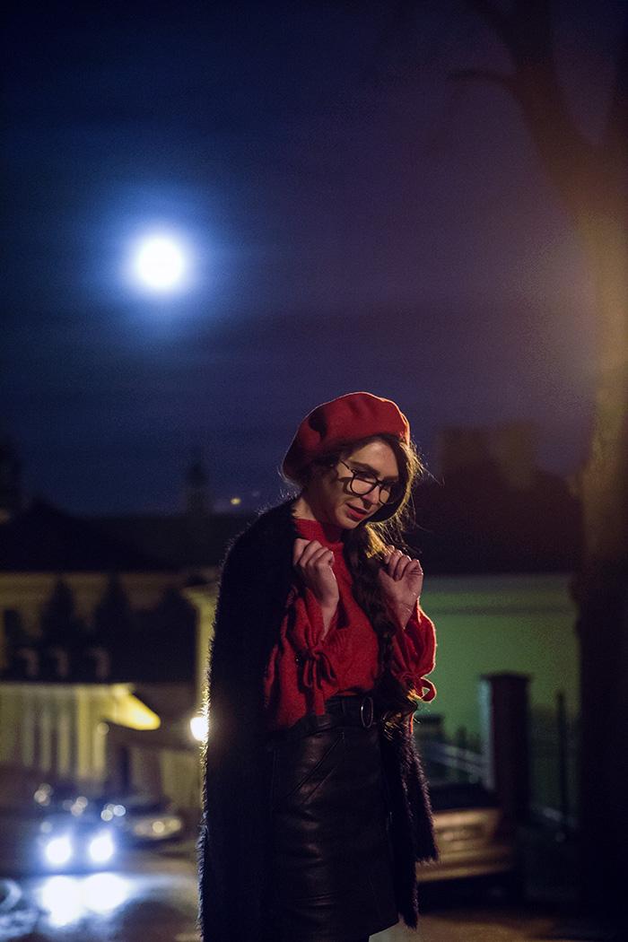 beret, czerwień, red, skirt,  stardivarius, night, Przemyśl, glasses, ocular canada, bershka beret, nightcity, red sweater bershka, french beret, moonlight